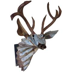 """Stag Mount"" Welded Steel Sculpture by Gordon Chandler"