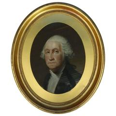 Antique Oval Pastel Painting of George Washington in Deep Gold Gilt Frame