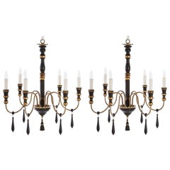Two Regency Style Six-Arm Chandeliers with Ebonized Finish Gilt Details