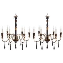 One Pair of Regency Style Six-Arm Chandeliers with Ebonized Finish