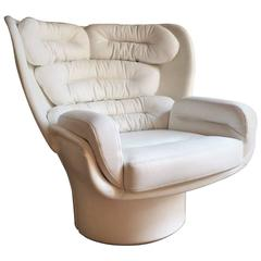 Joe Colombo Space Age Elda Lounge Chair Fiberglass Leather