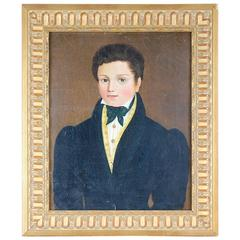 Late 19th Century Oil on Canvas Naive Portrait