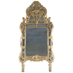 French Early 19th Century Giltwood Provencal Front Top Mirror, circa 1820-1840