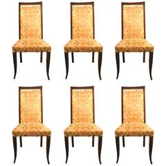 Set of Six Art Deco Chairs with High Back