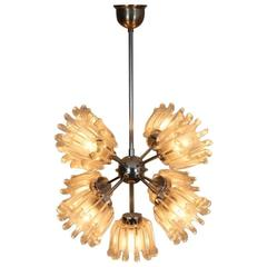 Sophisticated Chrome and Frosted Tulip Glass Chandelier by Doria