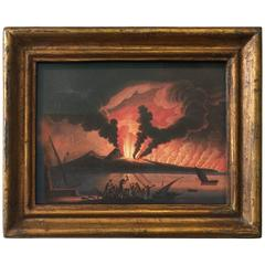 Hand-Colored Engraving of Vesuvius Erupting, Early 19th Century