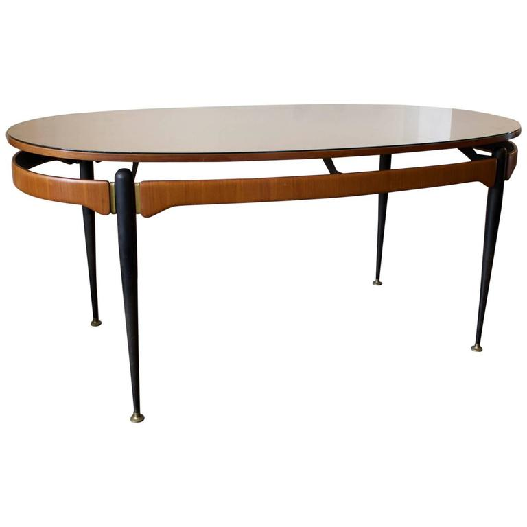 Italian Dining Table with Sunburst Top, 1950s For Sale