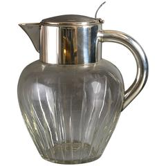 Early 20th Century Cut-Glass and Silver Plated Lemonade Jug