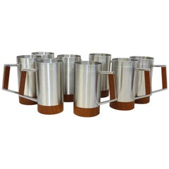 Eight Dansk style Modernist Pewter with Teak Moscow Mule Cups or Mugs