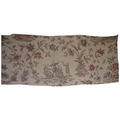Late 19th Century Antique French Chinoiserie Printed Linen Panel