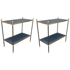 Maison Jansen Pair of Two-Tier Neoclassic Side Table with Gold Adorn Leather Top