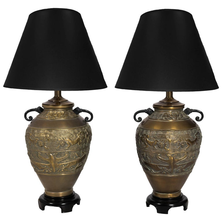 Pair of Asian Influence Hammered Brass Table Lamps