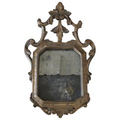 18th Century Antique Giltwood Italian Carved Mirror