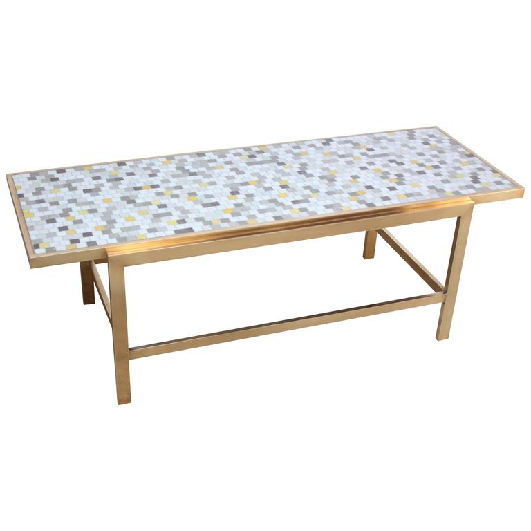 Brass and Mosaic Coffee Table Attributed to Ed Wormley for Dunbar 1