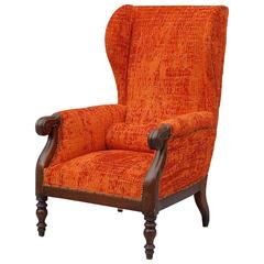 Antique Italian Wingback Chair with Mahogany Frame, Newly Upholstered
