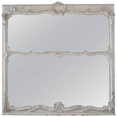 19th Century Large Carved and Painted Trumeau Mirror