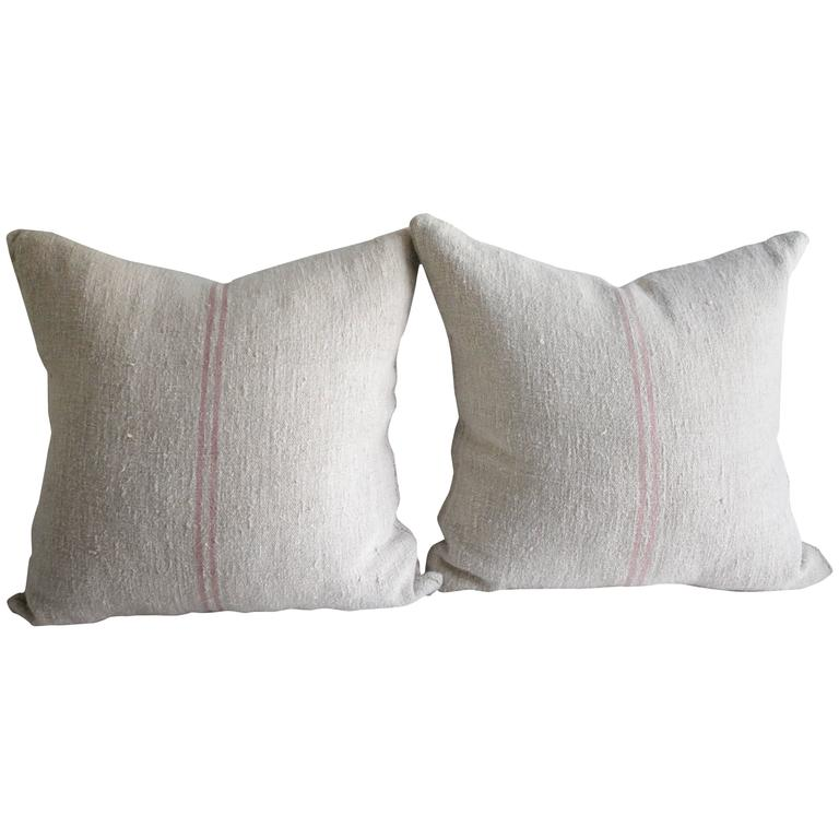 Pair of Antique French Grain Sack Linen Pillows with Down