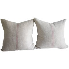 Antique French Grain Sack Linen Pillows