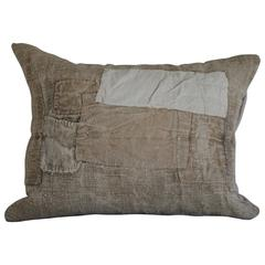 19th Century Antique Grain Sack Pillow with Original Patchwork