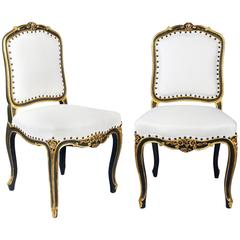 Pair of Antique French Louis XV Parcel-Gilt and Painted Side Chairs