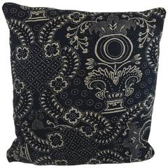 French Antique, circa 1800s Indigo Resist Block Printed Cotton Pillow