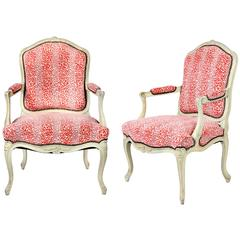 Pair of French Louis XV Style Painted Armchairs
