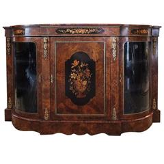 French Burl Mahogany and Satinwood Marquetry Sideboard with Bronze Mounts