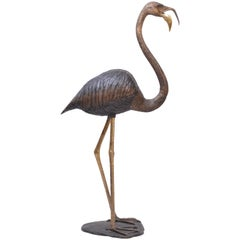 S. David Signed Oversized Bronze Figure of a Flamingo