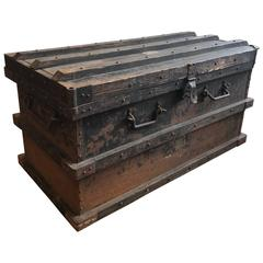Industrial Iron and Wood Large 19th Century Trunk