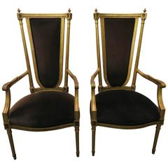 Pair of Hollywood Regency Maison Jansen Style Neoclassical Gilded Gold Armchairs