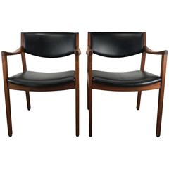 Stunning Pair of Modernist Oiled Walnut and Black Armchairs by Gunlocke