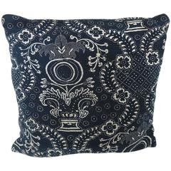 Antique French circa 1800s Indigo Resist Blockprinted Cotton Pillow