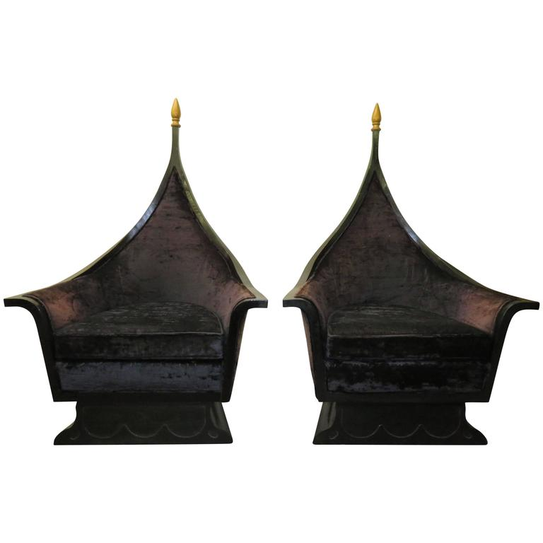 Pair of Hollywood Regency James Mont Style Black Lacquered Chairs, Mid-Century