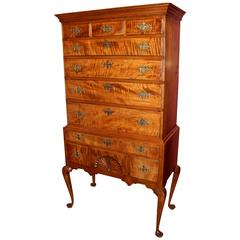 New Hampshire Queen Anne Two-Part Tiger Maple Highboy