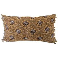19th Century French Antique Printed Cotton Quilted Pillow with Bobble Trim