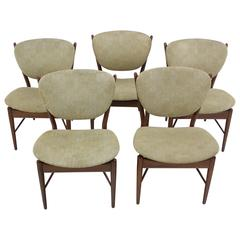 Set of Five Danish Modern Teak Chairs Designed by Finn Juhl for Baker