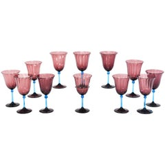 Set of 12 Steuben Handblown Optic Ribbed Amethyst Goblets with Celeste Blue Stem