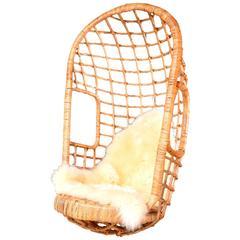 Sculptural Rattan Hanging Chair