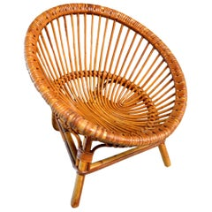 Vintage French Children's Rattan Scoop Chair