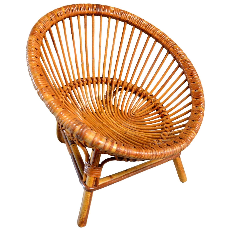 Vintage French Childrenu0027s Rattan Scoop Chair