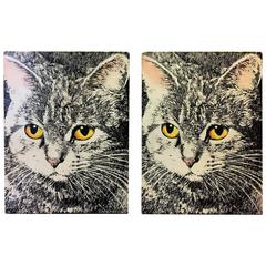 Great Pair of Piero Fornasetti Cat Face Bookends