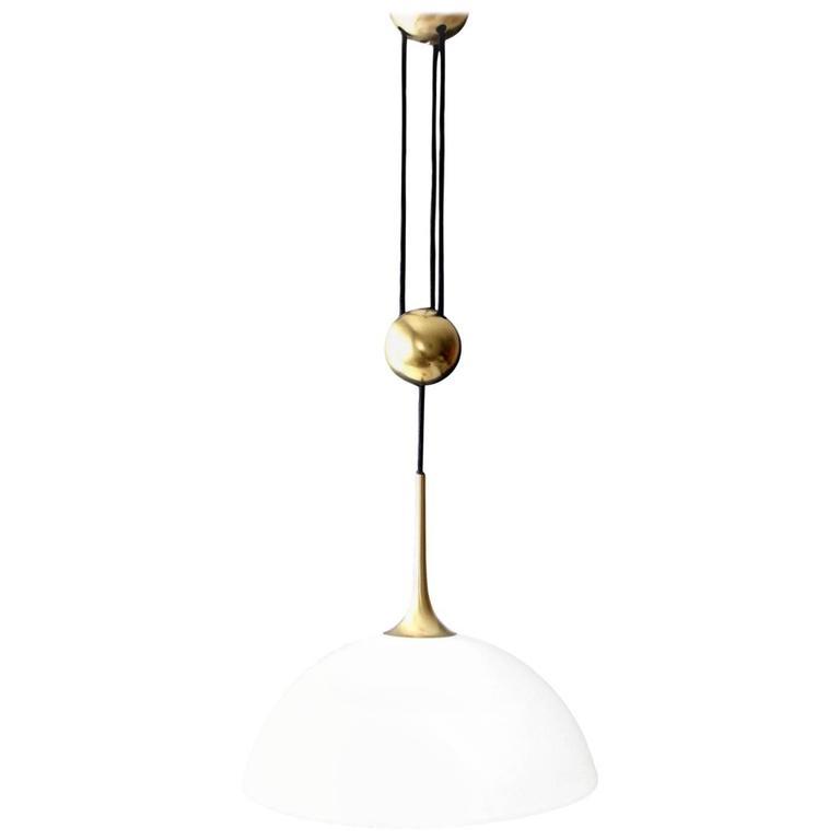 Rare Florian Schulz Counter Balance Light with Glass Shade