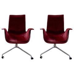 Rare Red Fabricius Tulip Desk Chair with Three Legged Base