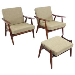 Rare Pair of Danish Modern Armchairs and Ottoman Designed by Hans Wegner