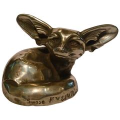 Art Deco Bronze Sculpture Fennec, Fox by Edouard-Marcel Sandoz, France