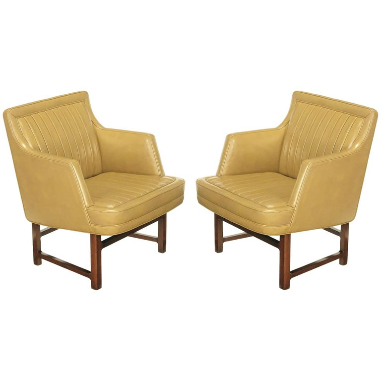 "Pair of Edward Wormley ""Bucket Seat"" Leather and Mahogany Club Chairs For Sale"