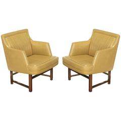 "Pair of Edward Wormley ""Bucket Seat"" Leather and Mahogany Club Chairs"