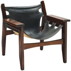 Sergio Rodrigues Black Leather 'Kilin' Lounge Chair