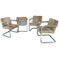 Rare 1970s Set of Four Milo Baughman for Thayer Coggin Suede Game Chairs