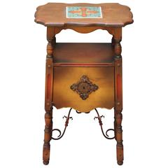 1920s Spanish Revival Table or Nightstand with California Tile & Iron Stretcher